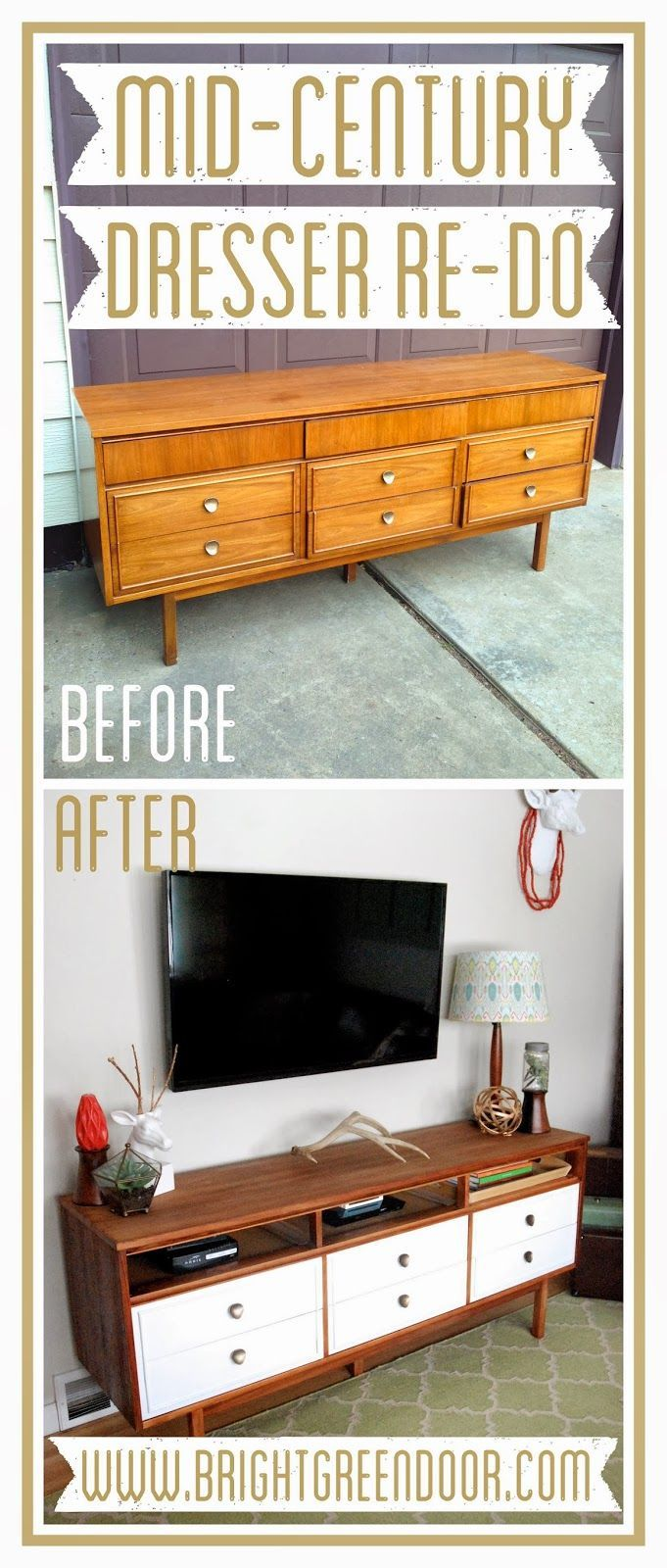 Turn of the century furniture - Mid Century Dresser Turned Tv Console