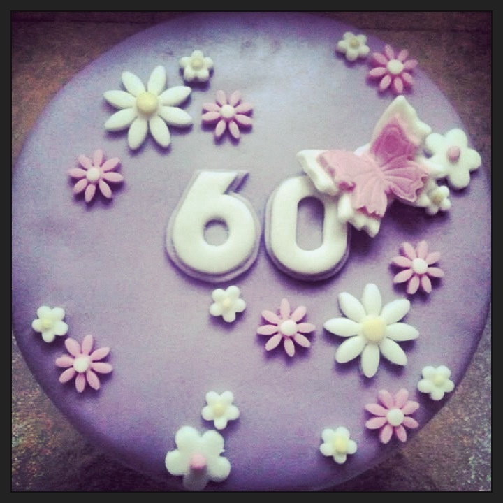 Floral 60th Birthday Cake