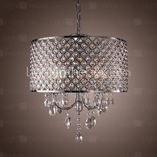 Modern 4 - Light Pendant Lights with Crystal Drops in Round $179.99