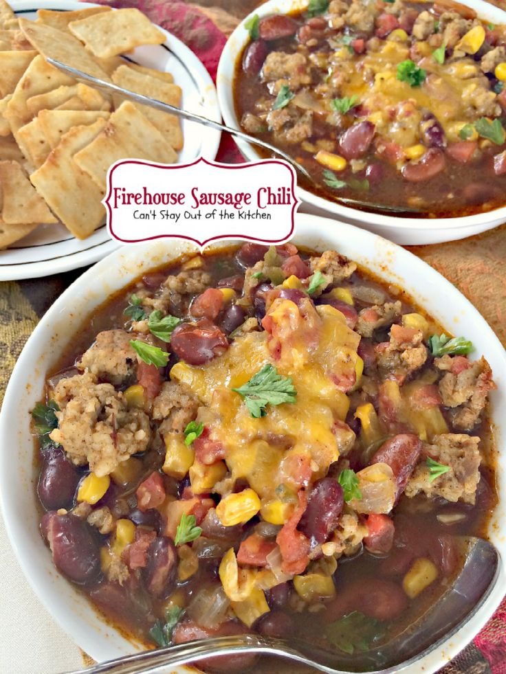 Firehouse Sausage Chili   Can't Stay Out of the Kitchen   spicy #Tex-Mex #chili is made with #sausage instead of #beef. Amazing! #glutenfree #soup