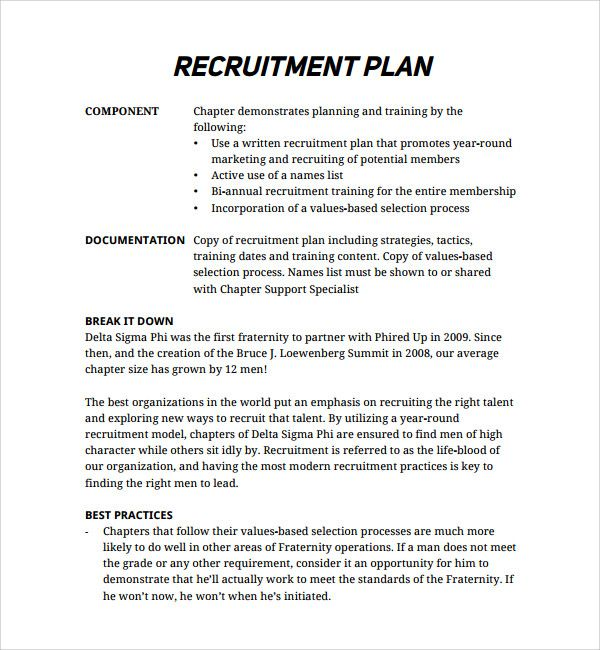 Sample Recruitment Plan Template Recruiting Checklist