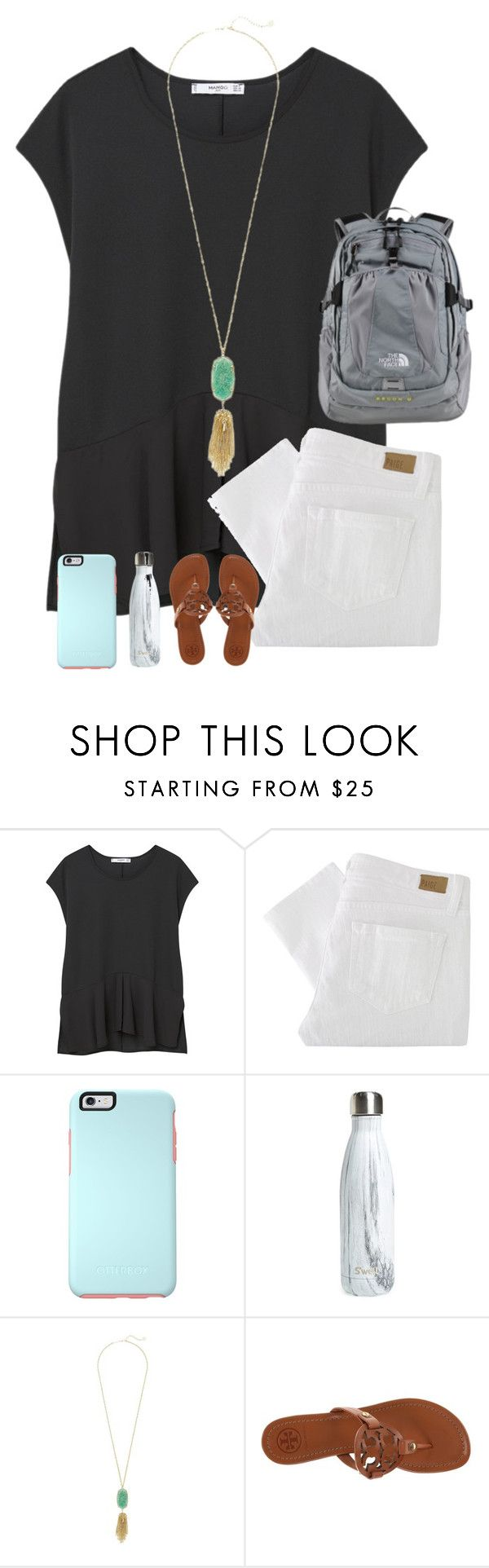 """""""1st day of school!!"""" by melaniebethc ❤ liked on Polyvore featuring MANGO, Paige Denim, OtterBox, S'well, Kendra Scott, Tory Burch and The North Face"""