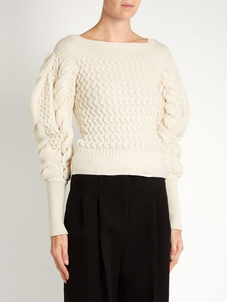 Exaggerated sleeve cable-knit sweater by Lemaire