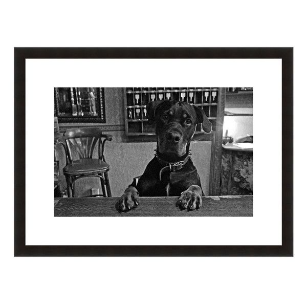 Image: Inn Keeper Photographer: Howard Paley Frame: Black Onyx #dog #bar #barstool #puppy #innkeeper #paws #rooms #hotel #bw #worldscapes #eFrame