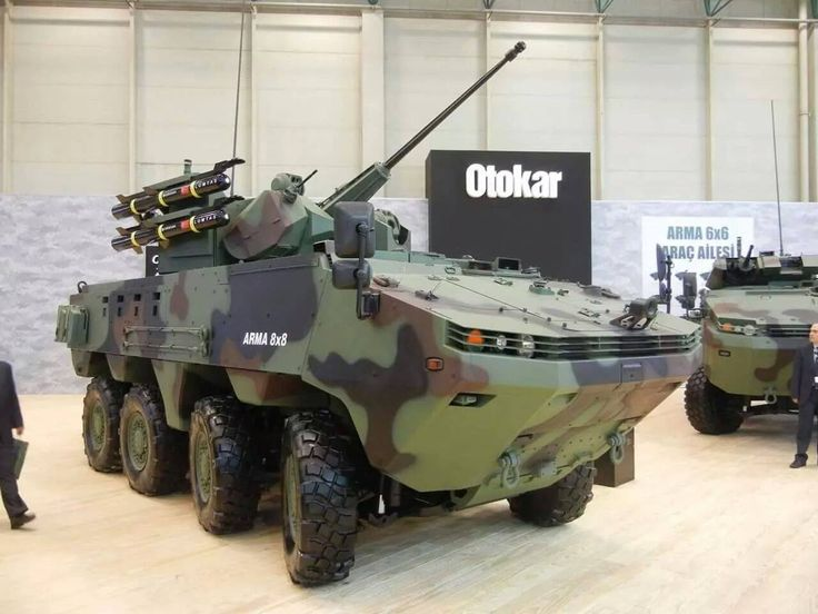 otokar arma 8x8 with anti tank missile , 75 mm and 12.5 mm remote control guns with thermal infrared views