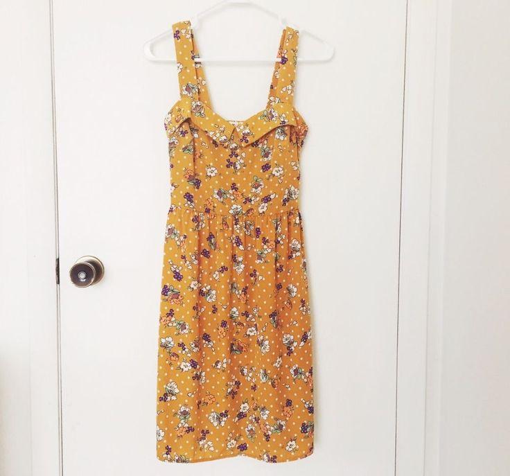 Modcloth Everly summer sundress dress polka dot floral mustard retro small s