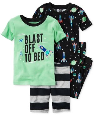Carter's 4-Pc. Blast Off To Bed Glow-in-the-dark Pajama Set, Little Boys (2T-7) & Big Boys (8-20) - Space
