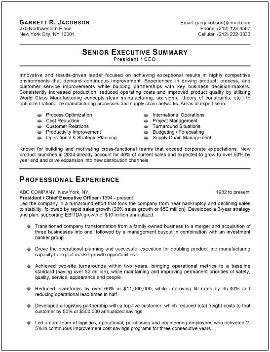 Executive Resume Example  CityEsporaCo