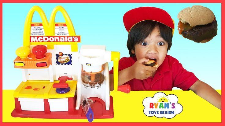 MCDONALD'S HAMBURGER MAKER & McDonald's Cash Register Toys for Kids pretend Play Feed Pet Shark food - YouTube