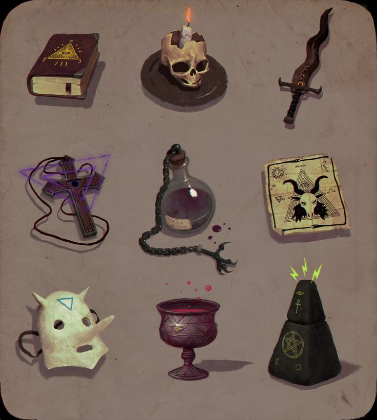 Occult items, Henri Kutvonen on ArtStation at https://www.artstation.com/artwork/occult-items