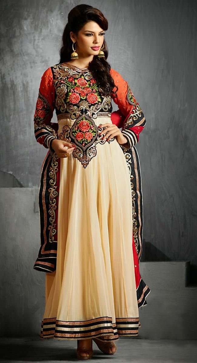 165136804 exquisite black cream peach puff_salwar kameez