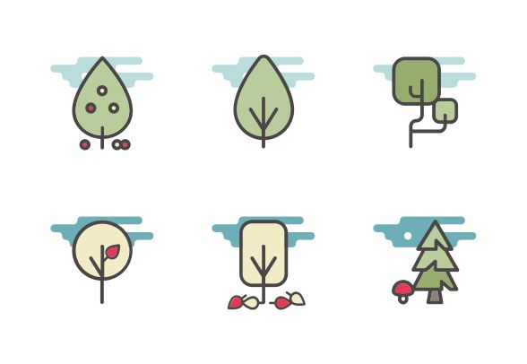 "This set contains 10 color filled line vector icons design into the ""trees, plants and vegetation"" category. #LineIcons #VectorIcons #TreeIcon #VectorTree #PlantIcon"