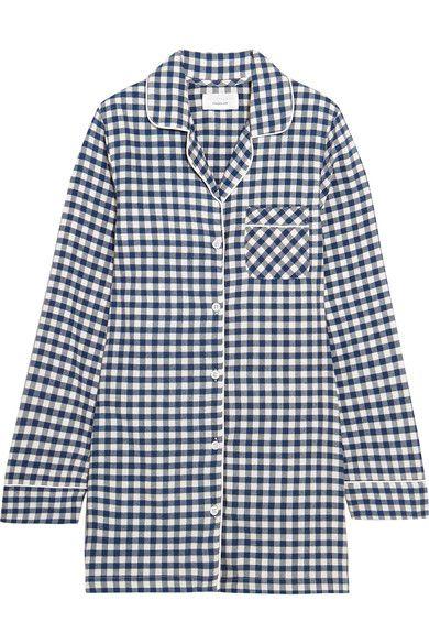 Three J NYC - Audrey Checked Cotton-flannel Nightshirt - Midnight blue - x large