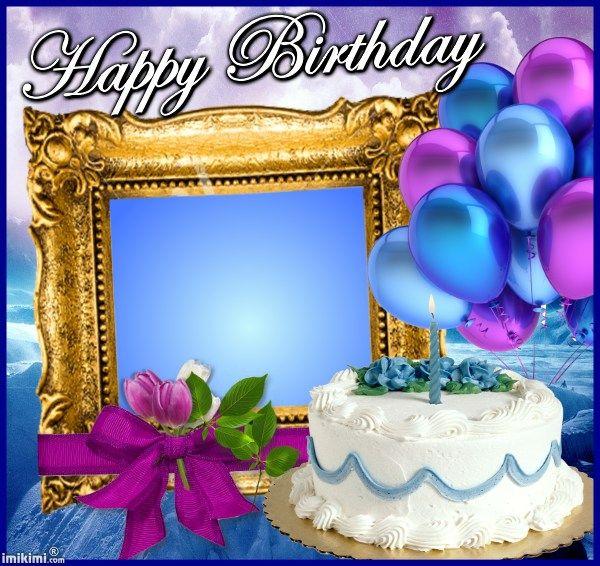 Happy Birthday Frame From Www Imikimi Com Add Photo Pinterest