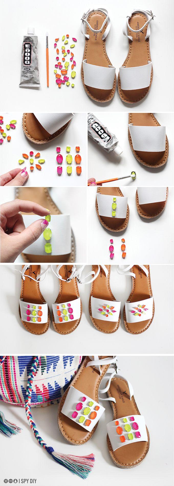 Una idea original para customizar sandalias #diy #handmade