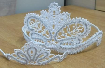 Advanced Embroidery Designs - FSL Battenberg Lace Tiara for a Girl and Her Doll