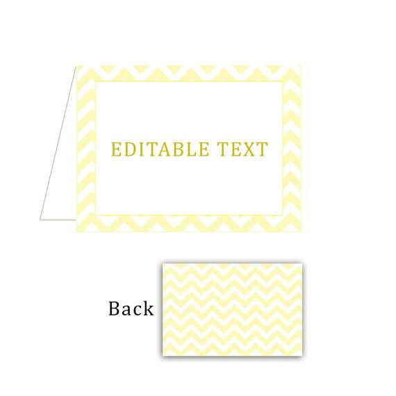 Printable Blank Yellow Chevron Party Return Address Labels - Editable Party Food Labels Party Favors Birthday Favors Baby Shower Favors
