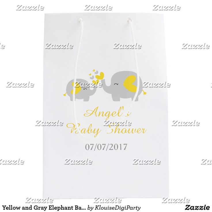 Yellow and Gray Elephant Baby Shower Medium Gift Bag