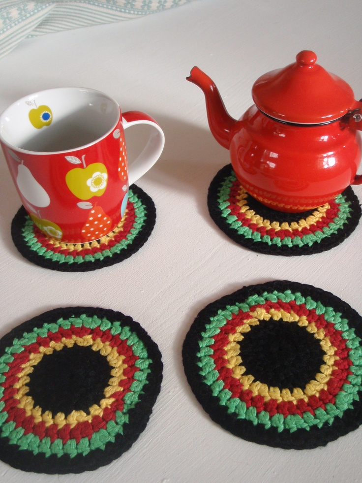 Crocheted coasters four for £13.  www.facebook.com/pages/BettyBetty-Design/24608364540518500