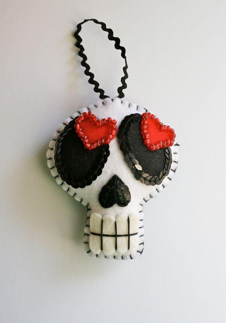 Large Day of the Dead Skull Ornament - Dia de los Muertos- Mexican Folk Art - Sugar Skull