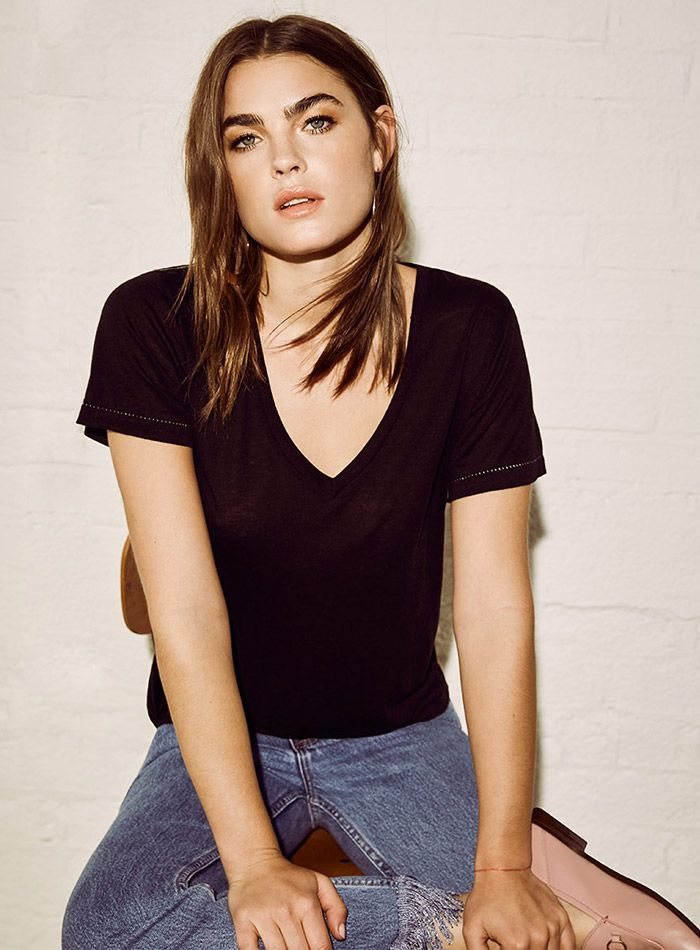 Model wears Relaxed Fit V-Neck T-Shirt for lookbook photoshoot