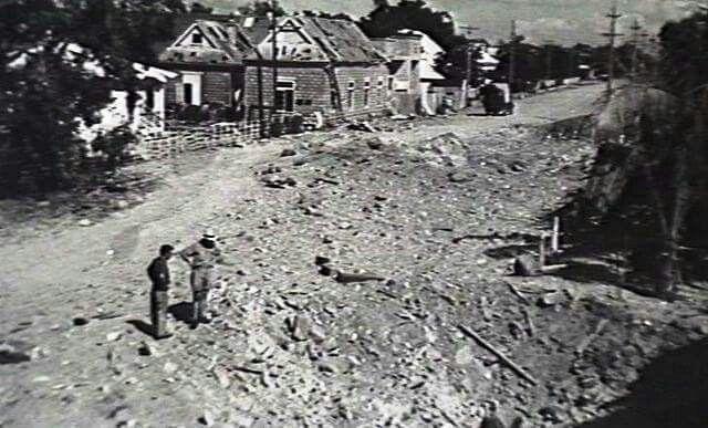 WW11 Bomb crater. Mitchell St Darwin 1942.