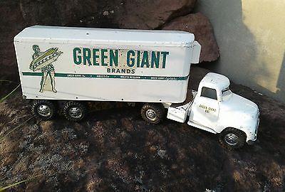 Vintage 1950's Semi Green Giant Truck Tractor Trailer Steel Original Metal tonka