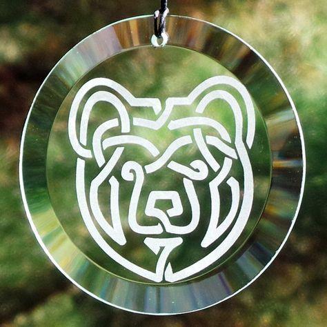 Etched Celtic Bear Glass Suncatcher / Ornament - Celtic Knot Works - 1