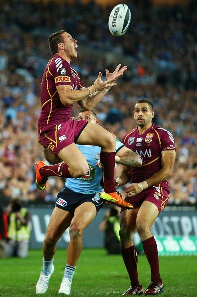 Darius Boyd of the Maroons takes a high ball during game one of the ARL State of Origin series between the New South Wales Blues and the Queensland Maroons at ANZ Stadium on June 5, 2013 in Sydney, Australia.