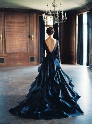 Unbelievably gorgeous navy wedding gown by Sareh Nouri