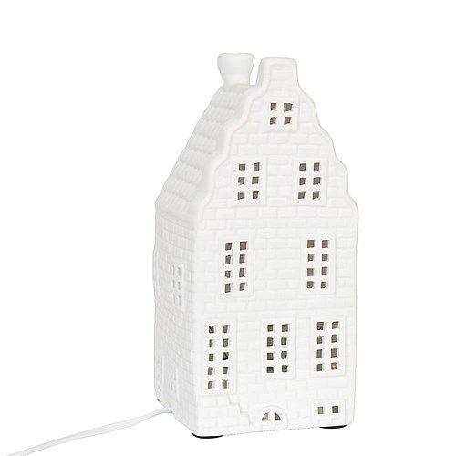 Oh deze wil ik heel graag! ♥   Clayre & Eef Tafellamp Grachtenpand 24 cm - Wit