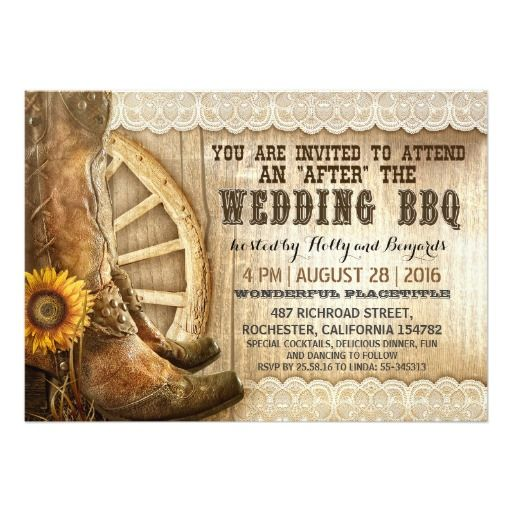 Cowboy Boots Country Western After Wedding Bbq Card