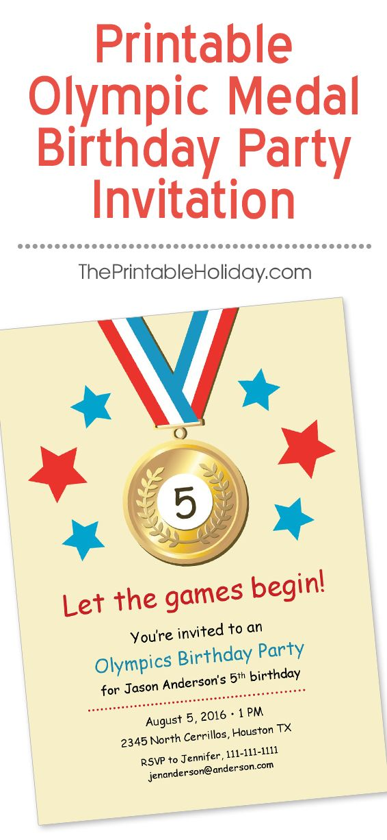 Go for the gold with this Olympics theme birthday party invitation! Kids of all ages would love a party with Olympic competitions and events, such as triathlon, gymnastics, soccer, and more. All of your party details fit nicely into this template, including the age of the birthday child right in the middle of the gold medal. Simply print at home and let the birthday games begin!