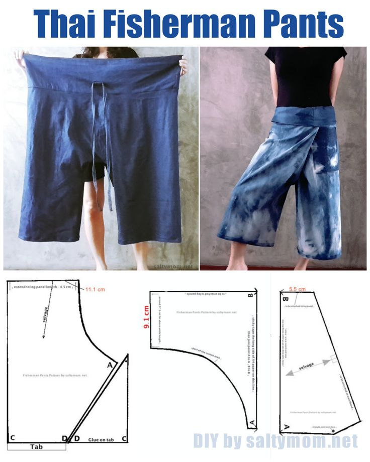 Clothing to make - just tie it around your waist. The Thai Fisherman pants ! The ultimate one size fits all , roomy and comfortable. Free Pattern / Tutorial and Youtube Instructions - Great comfortable pants for lounging or gardening.