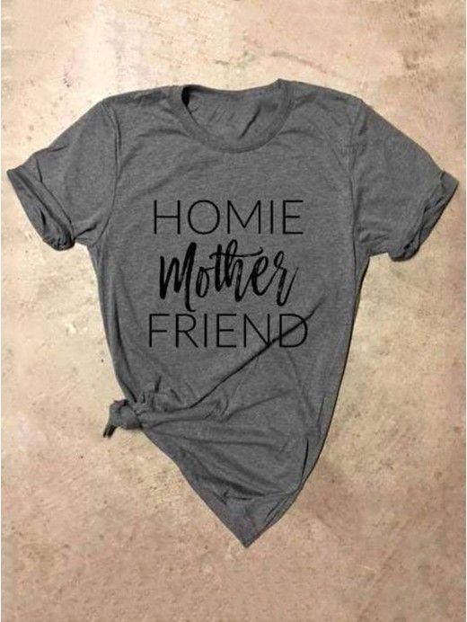 d8ca149fd Dresswel Women Funny HOMIE mother FRIEND Letter Print Short Sleeve T-shirt---13.99  #dresswel #mother #letterprint #shirt
