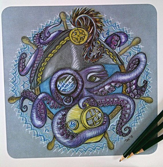 Down With the Ship,  Limited Edition Print, Mandala Art, Wall Art Prints, Colour Pencil Sketch on Recycled Card