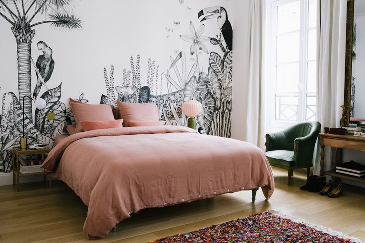Morgane Sezalory's Paris Apartment  Pink & Green Color Scheme