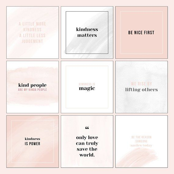 Photoshop Template Instagram Quote Design Pack For Small Business Social Media Instagram Black Blush Watercolour Instant Download Instagram Template Design Instagram Quotes Quote Layout