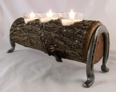 Mesquite Candle Holder with Horse Shoe Legs- Made in Texas