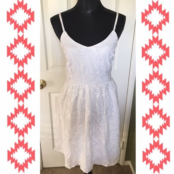 White Embroidered Dress New worn brand new! Has thick lining do it is not see through Forever 21 Dresses Mini