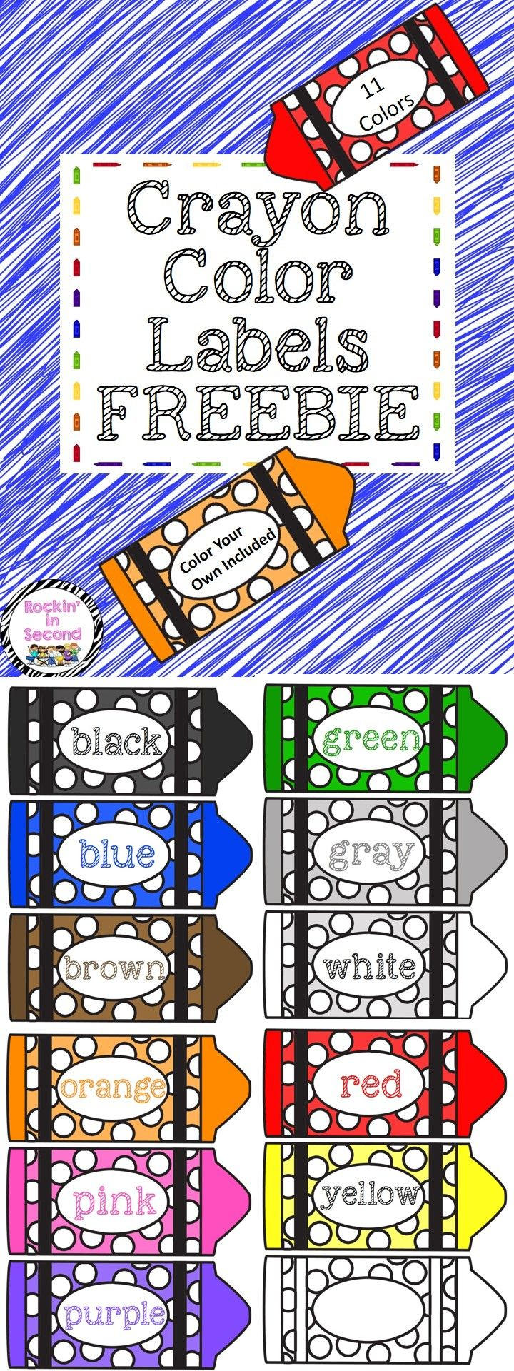 Use this FREEBIE lots of ways:  * Color identification * Table Labels * Center Labels * Interactive Notebooks * Have your kiddos use the blank one to color and label their own in     their notebook.  What will you use your labels for??   Follow me on TPT for more fun, exciting products and Freebies. All new products are 50% off for the first 24 hours.. don't miss out!   Like me on Facebook too: www.facebook.com/rockininsecond