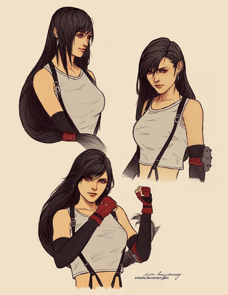 Tifa Lockheart sketch drawings, Lisa Buijteweg on ArtStation at http://www.artstation.com/artwork/tifa-lockheart-sketch-drawings