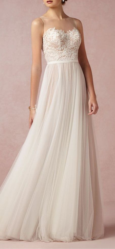Wedding Gown Idea. Sheer at the top, lace in the middle, solid at the end. Pretty good choice. Still undecided...