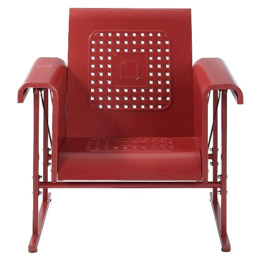 """Give your yard nostalgic charm with the Crosley Veranda Metal Single Patio Glider Chair. One look and you know that this is the garden glider for you. The retro lines, color and style is a completely winning combination that manages to walk the thin line between a nod to the past and modern chic. Made of durable steel with a pretty powder-coated finish, this patio furniture is UV and weather resistant and holds color brilliantly. 30.27""""x33""""x33.25""""(DxWxH). Limited..."""
