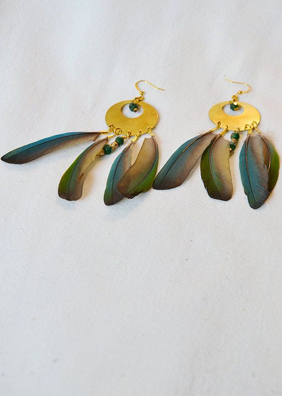 SOLD Dangling feather earrings, green Jade gemstone beads, native American bird feathers