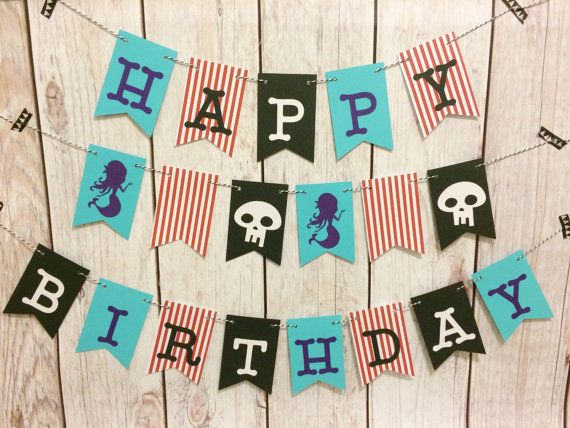 Pirate and Mermaid Banner Happy Birthday by BostonsTerrier on Etsy