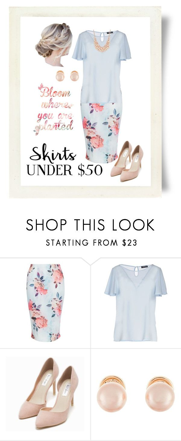 """""""Bloom! Skirts under $50 Contest"""" by curvygirlamy ❤ liked on Polyvore featuring New Look, Morgan De Toi, Nly Shoes, Kenneth Jay Lane, Charter Club, under50 and skirtunder50"""