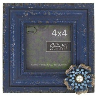 "Green Tree Gallery 4"" x 4"" Blue Distressed Wood & MDF Picture Frame with Jeweled Flower 