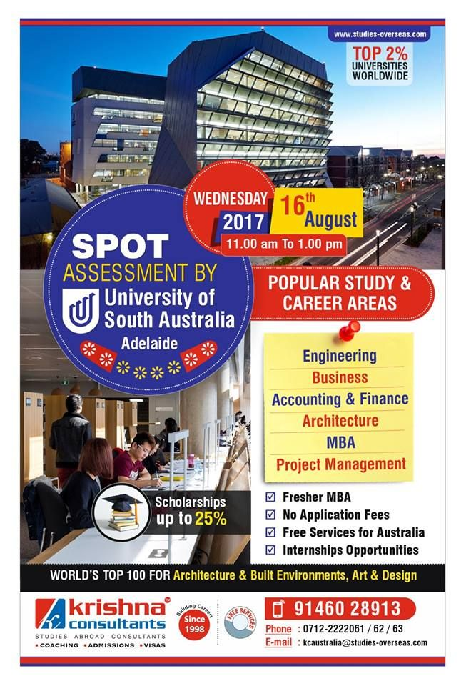 Want to Study in #Australia?  Attend Spot Assessment Session by University of South Australia, Adelaide, Australia for Feb 2018 and July 2018 Intakes!!  Dated: 16th August 2017 (Wednesday) Time: 11.00 am to 1.00 pm Venue: Krishna Consultants Nagpur  Benefits: - Scholarship opportunities - Affordable tuition fees - Accommodation and Airport pick up - No application fees - Adelaide is categorised as a 'Regional Campus', which helps #students in acquiring 5 points for applying for #PR…