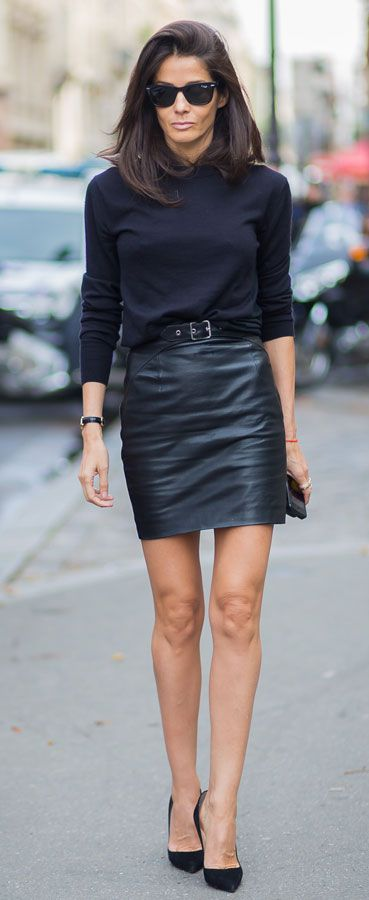 #chic #outfit glossy #mini #leather skirt and black top #outfit